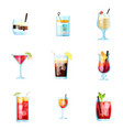 set nine tropical cocktails white russian tom vector image