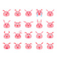 set of cartoon emotional pink pig vector image