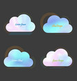set of creative cloud with blurred holographic vector image vector image