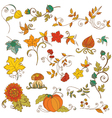 set of decorative Autumn branches leaves vector image vector image
