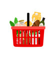 shopping basket with products isolated on white vector image vector image