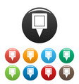square pin icons set color vector image vector image