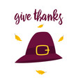 thanksgiving card with hat isolated vector image