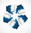 thumbs up like circle grouped team vector image