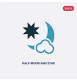 two color half moon and star icon from shapes vector image vector image