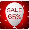 White Baloon with text Sale 65 percent Discounts vector image vector image