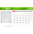 Year 2017 June month simple and clear design vector image