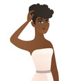 young african-american fiancee scratching her head vector image vector image