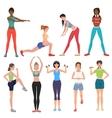 Sport fitness healthy girls set Women in vector image