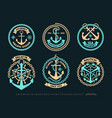anchor logo nautical adventure emblem t-shirt vector image