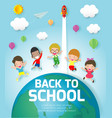 back to school banner background group of kids vector image vector image