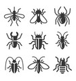 beetle insect and bug icons set vector image vector image
