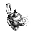 burning oil lamp vector image vector image