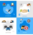 Car Dealership Flat Icons Square Concept vector image vector image