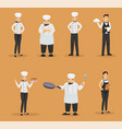 character set of chef and waiters in restaurant vector image