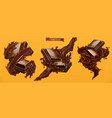 chocolate and splash 3d realistic vector image vector image