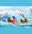 christmas scene with santa and presents vector image vector image