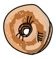 coconut donut on white background vector image vector image