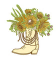 cowboy boot vase with flowers isolated on a white vector image