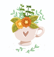 Cup with flowers vector image