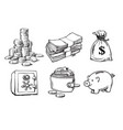 finance money set sketch vector image