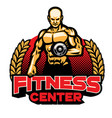 fitness center badge design vector image