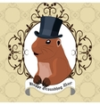 Groundhog day greeting card with cute marmot in vector image