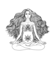 Hand drawn of pregnant woman sitting in lotus pose vector image