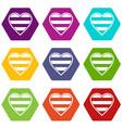 heart lgbt icon set color hexahedron vector image vector image