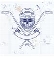 hockey player skull vector image