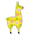 llama with yellow floral pattern vector image vector image