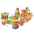 many toys on white background vector image