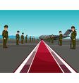 men in uniform standing on opposite sides of the vector image