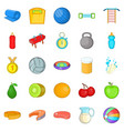 muscles icons set cartoon style vector image vector image