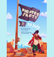 pirate party flyer with wooden ship deck and flag vector image vector image