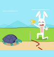 rabbit wins the turtle in the race design vector image vector image