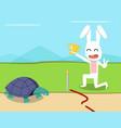 rabbit wins turtle in race design vector image vector image