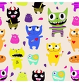 seamless pattern funny monsters vector image