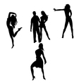 silhouettes of dancing people vector image vector image