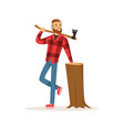 smiling lumberjack with an axe and downed log vector image vector image