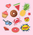stickers and patches set vector image vector image