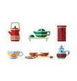 tea ceremony accessories set teapot tea cups vector image