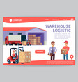 warehouse landing warehousing logistics service vector image