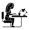 woman working on notebook in office or home - vector image