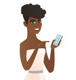 young african fiancee holding a mobile phone vector image vector image