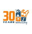 30 year gift box ribbon anniversa vector image vector image