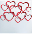Background with cutting paper 3d hearts vector image