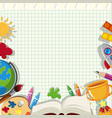 banner template with school items on grid vector image vector image