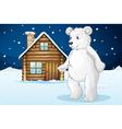 cabin and polar bear vector image vector image