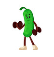 cartoon cucumber dumbbell exercise vector image vector image